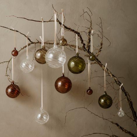 ferm LIVING Weihnachtsbaumkugel Twirl L Multi 4er-Set