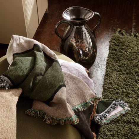 ferm LIVING Teppich Amass Long Pile Olive