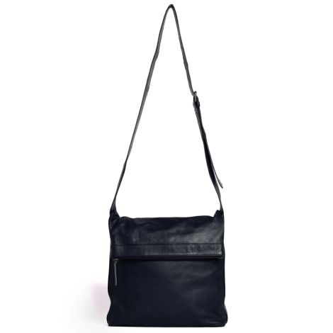 Sticks and Stones Ledertasche Flap Bag Dark Blue Washed •