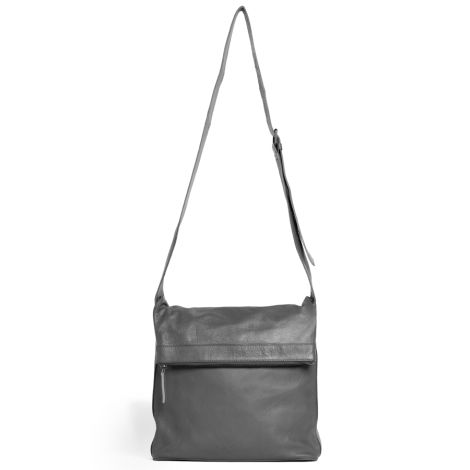 Sticks and Stones Ledertasche Flap Bag Light Grey Washed