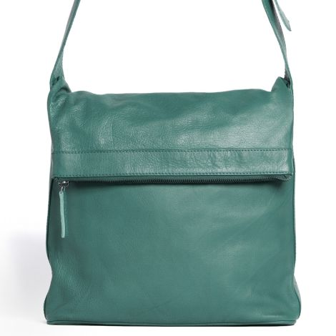 Sticks and Stones Ledertasche Flap Bag Green Spruce Washed