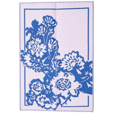 Rice Teppich Kunststoff Big Flower Blue/Soft Pink L •