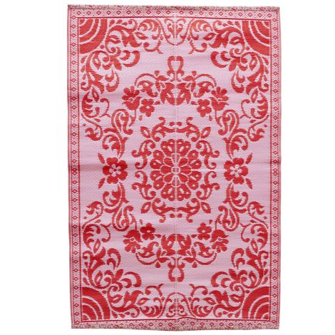 Rice Teppich Kunststoff Circle Flower Pink/Red M