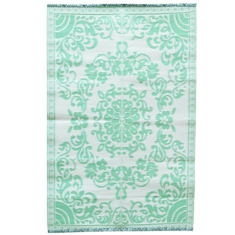 Rice Teppich Kunststoff Circle Flower Mint/Creme M