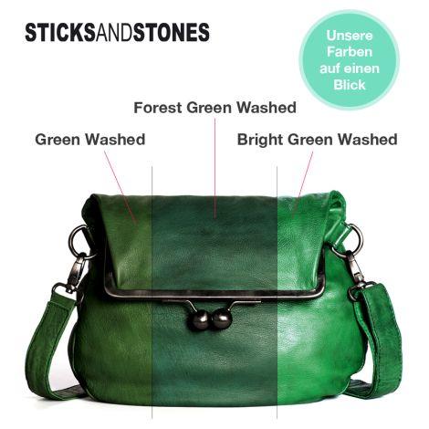 Sticks and Stones Ledertasche Brasilia Bright Green Washed