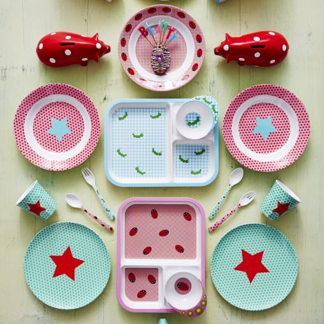 Rice Melamin Becher Two Tone Star Print Pink/Mint
