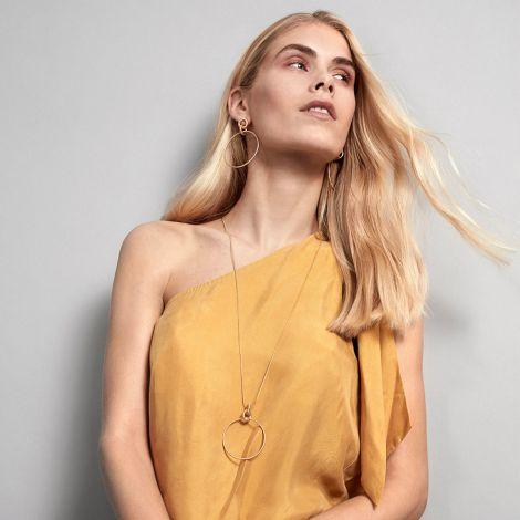 Dansk Smykkekunst Kette Infinity Hoop Hämatitüberzug •