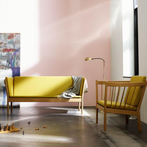 FDB Møbler J148 Sofa 2-Sitzer Eiche/Dusty Blue