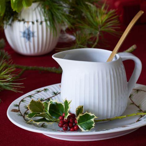 Kähler Design Hammershøi Christmas Vase 13 cm weiß mit Dekoration