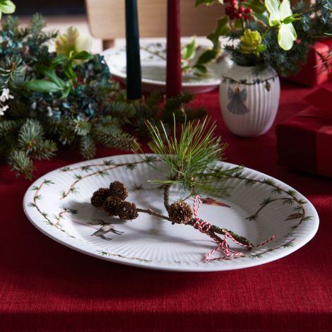 Kähler Design Hammershøi Christmas Ovale Schale 34 cm weiß mit Dekoration