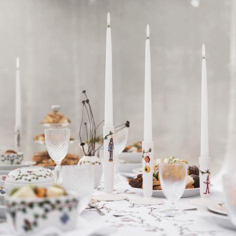 Kähler Design Hammershøi Christmas Kerzenständer 12 cm weiß mit Dekoration
