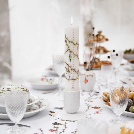 Kähler Design Hammershøi Christmas Kalenderkerze 2021 Ø5 cm weiß mit Dekoration