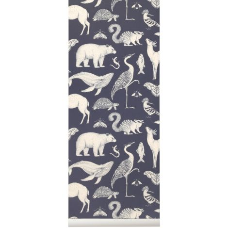 ferm LIVING Tapete Katie Scott Animals Dark Blue