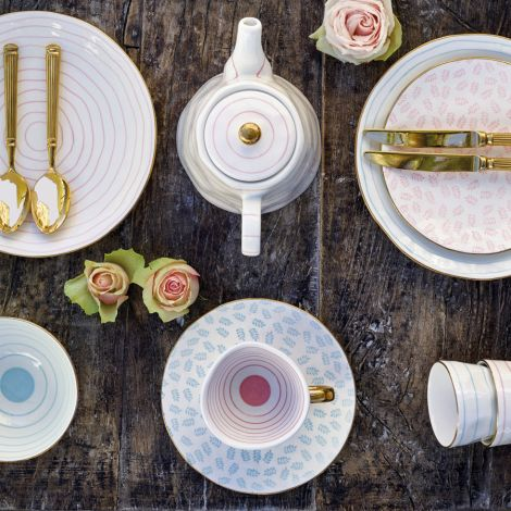GreenGate Teller Lianna Pale Pink/Gold 21 cm •
