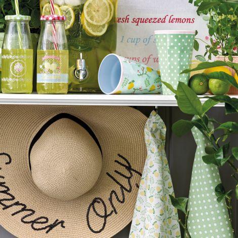 GreenGate Flasche Lily Petit White mit Deckel und Trinkhalm