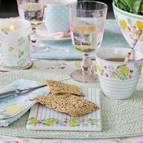 GreenGate Stoffserviette mit Spitze Limona Petit White