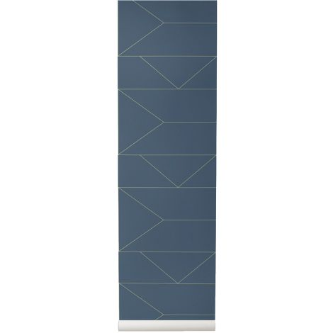 ferm LIVING Tapete Lines Dark Blue
