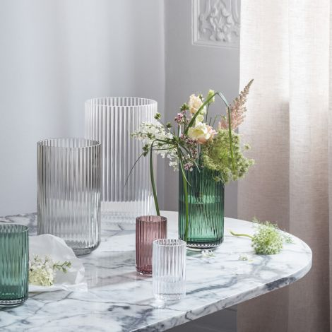 Lyngby Vase Midnight Blue mundgeblasenes Glas 25 cm