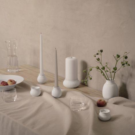 Lyngby Curve Teelichthalter Weiß Matt mit glasiertem Rand 6.5 cm