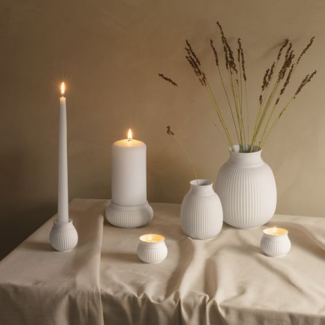 Lyngby Curve Kerzenständer Weiß Matt mit glasiertem Rand 7 cm