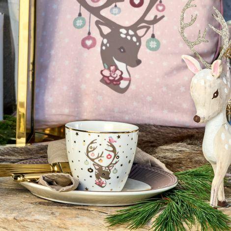GreenGate Kissenhülle Dina Pale Pink Motivdruck 40x40cm