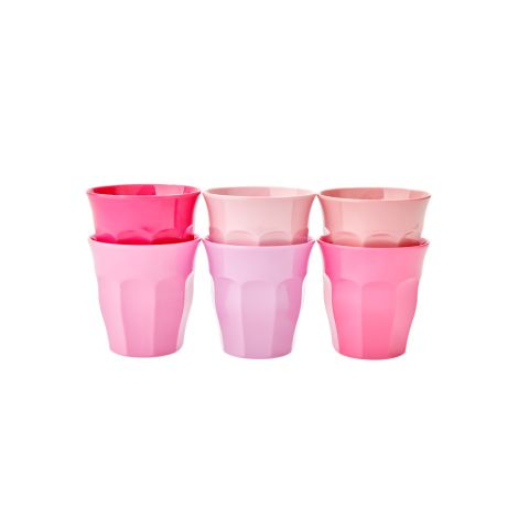 Rice Melamin Becher Curved S 50 Shades of Pink 6er-Set