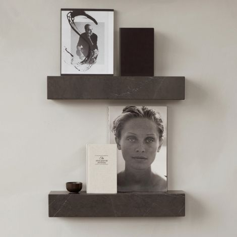 Menu Plinth Regal aus Marmor Brown Grey