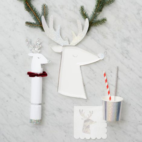 Meri Meri Party-Cracker White Reindeer 6er-Set