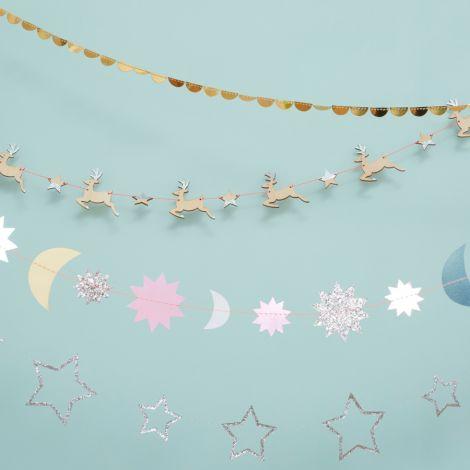 Meri Meri Mini Girlande Silver Glitter Star