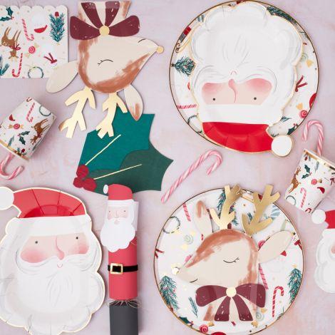 Meri Meri Pappteller Weihnachtsmann Santa 8 Stk.