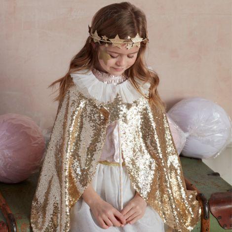 Meri Meri Kostüm Gold schimmernder Umhang