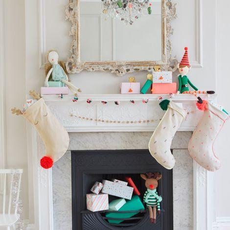 Meri Meri Geschenkanhänger Weihnachtsmann Rentier 8 Stk. •