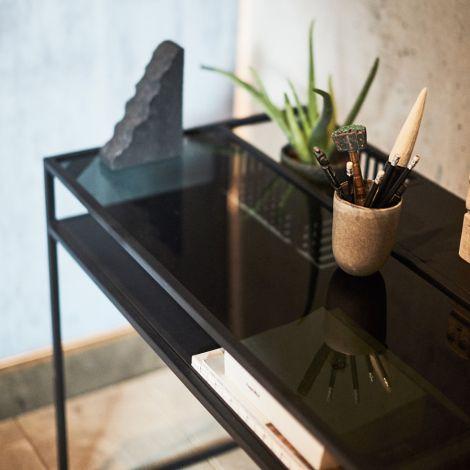 MUUBS Schreibtisch mit Glaseinsatz Denver Black