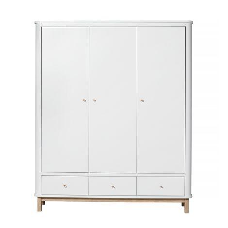 Oliver Furniture Wood Kleiderschrank 3-Türig Weiß/Eiche