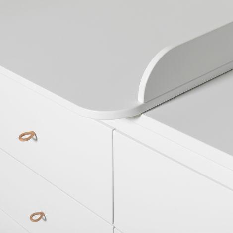 Oliver Furniture Wood Wickelkommode 6 Schubladen mit kleiner Wickelplatte Weiß