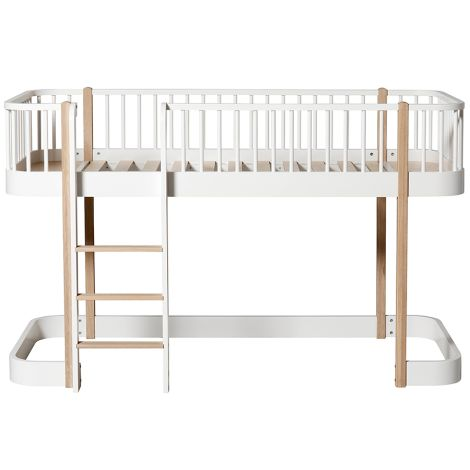 Oliver Furniture Umbauset Wood Einzelbett zum halbhohen Hochbett Weiß/Eiche