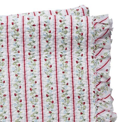 GreenGate Tagesdecke Quilt Gloria White mit Rüsche 140 x 220 cm •