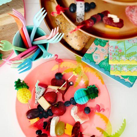 Rice Melamin Kuchengabel Pink/Orange 6er-Set
