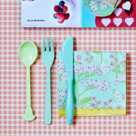 Rice Melamin Kuchengabel Blue/Green 6er-Set