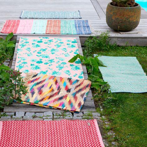 Rice Teppich Kunststoff Green/Creme handgemacht 60 x 120 cm