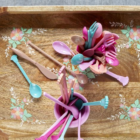 Rice Melamin Vintage Löffel kurz Pink 4er-Set