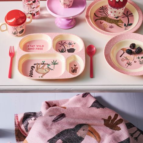 Rice Melamin Schüssel Kids Pink Jungle Animals