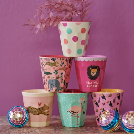 Rice Melamin Becher Jungle Pink Klein 6er-Set