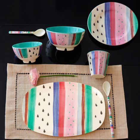 Rice Melamin Teller Oval Louise's Stripe