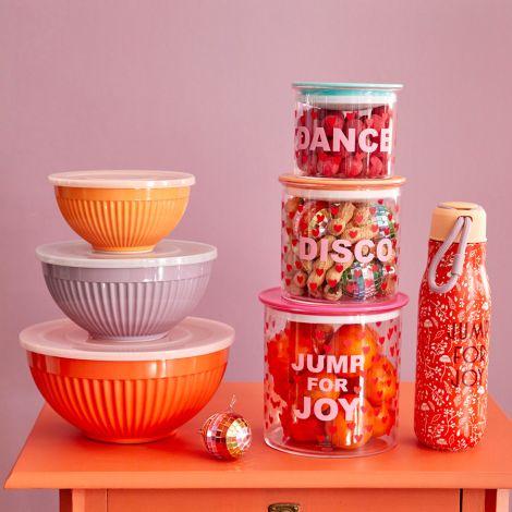 Rice Melamin Schüssel mit Deckel Orange, Lavender, Apricot 3er-Set