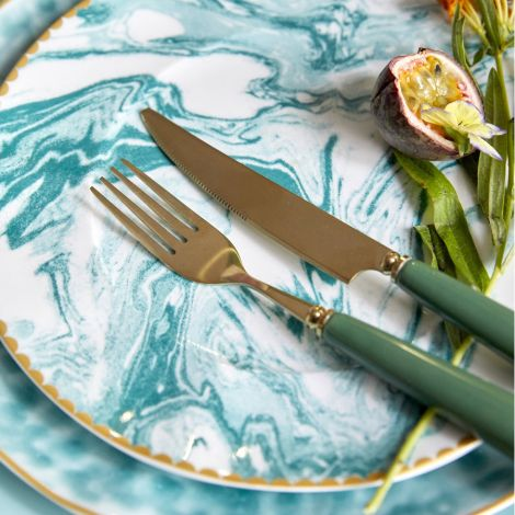 Rice Porzellan Teller Marble Jade