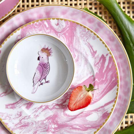 Rice Porzellan Speiseteller Marble Bubblegum Pink •