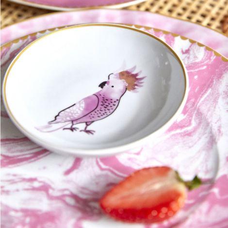 Rice Porzellan Dip-Schüssel Kakadu