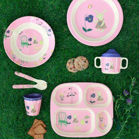 Rice Melamin Menüteller Pink Bunny