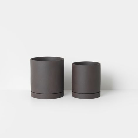 ferm LIVING Gefäß Sekki Pot Medium Charcoal